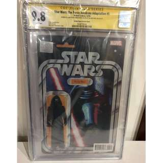 CGC SS 9.8 Star Wars TFA Adaptation #5 Kylo Ren Action Figure Variant Signed by John Tyler Christopher & Luke Ross