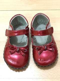 Pediped red patent walking shoes leather sole