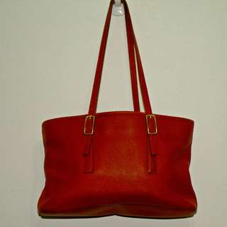 🚚 Coach 二手美製銅金屬紅色皮革長方包 側背包