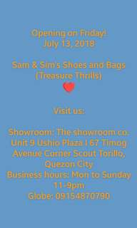 Hey Treasure Hunters! We're happy to announce that we will be having a physical store for our brand new shoes and bags!
