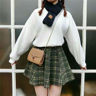 🚚 💓全新 韓版學院風墨綠格子毛呢半身裙