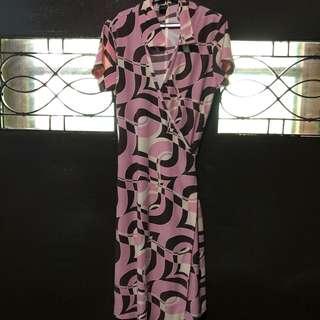 ForMe Pink&Brown Wrap Around Dress