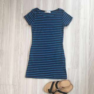 🚚 二手❤️藍黑條紋彈性棉質口袋休閒洋裝