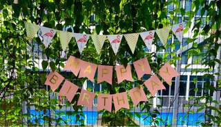 FLAMINGO & GOLD PARTY BUNTING
