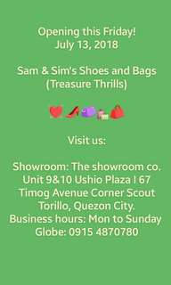 Hello Treasure Hunters! We're happy to announce that we will be having a physical store for our brand new SHOES AND BAGS! See you there!