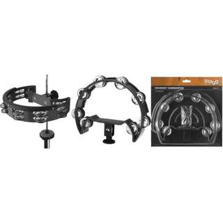 STOCK CLEARANCE SALE - STAGG HALF-MOON SHAPED PLASTIC CUTAWAY TAMBOURINE FOR HI-HAT STAND - 16 JINGLES
