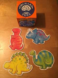 Orchard Toys 4 Shaped Dinosaur 3 & 4 Piece Puzzles