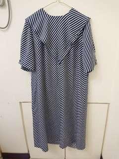 🚚 日本古著深藍條紋滑面長洋裝