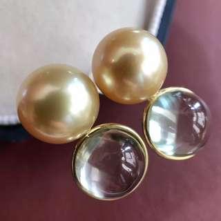 配上晶莹剔透的水晶 瞬间让金珠都更光亮了 18k金 10~11mm南洋金珠