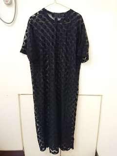 🚚 StyleNanda圓點透視彈性紗長洋裝