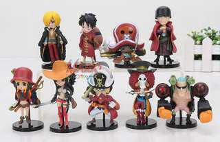 ONE PIECE! 9-pcs. set Chibi K.O. action figures - kids size: One Piece Film: Z movie collection