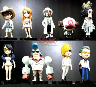 ONE PIECE! 9-pcs. set Chibi K.O. action figures - kids size: One Piece Film: GOLD movie collection