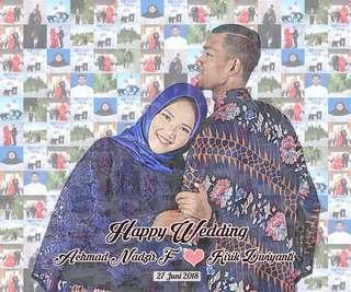 mozaik foto untuk hadiah ulang tahun, wisuda , pernikahan dll