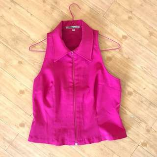 🌺Guess Jeans USA Pink Zip Vest