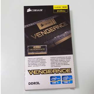 Corsair Vengeance 16GB Kit (2 x 8GB = 16GB Kit per box) DDR3L 2133 MHz PC3-17066 CL11 SODIMM Low Voltage Notebook Memory Ram (CMSX16GX3M2B2133C11)