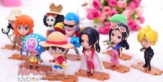 ONE PIECE! 10-pcs. set Chibi K.O. action figures - kids size: Original attires collection