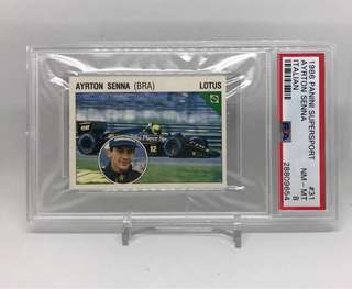 1986 Panini Supersport Ayrton Senna Rookie Card PSA 8