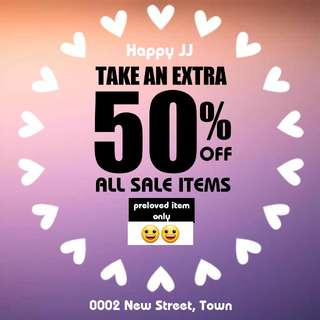 50% sales for pre loves item
