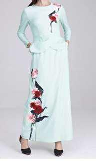 Heliza Peplum Dress with Placement Floral Print in Mint