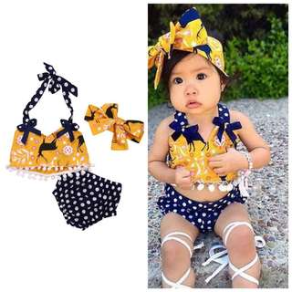 3 pcs yellow top with polka pants and matching headband