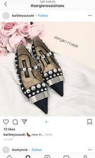 Sergio Rossi black mirror flats ladies shoes Chanel gucci