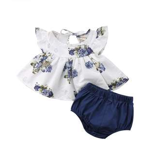 2 pcs blue flora white top with matching blue bloomer
