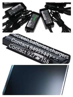 Supply all Chargers,batteries,screen,keyboard,hdd,rams