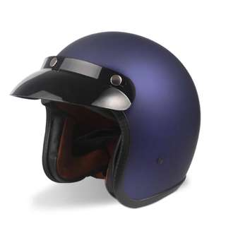 Matte Blue Motorcycle Helmet Open Face Three Button Snap Retro Vintage Vespa Scooter Cafe Racer Motorbike Leather Gloss Old School