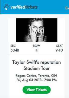 2 Tickets for Taylor Swift Reputation Tour - Aug 3