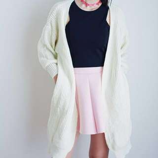 white wool cardigan