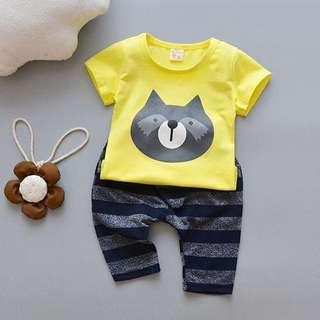 ❤️Ready stock❤️ Cute Raccoon Cartoon Printed Short-sleeved Shirt & Pants Set