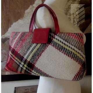 BURBERRY vintage wool tweed plaid red leather trim handbag