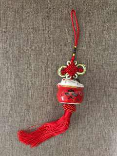 Fortune Cat Decorative Hanging / Dangling Charm (White / Red)
