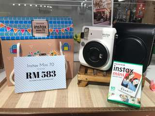 Instax Camera Mini 70 Package (Blue, White, Yellow)