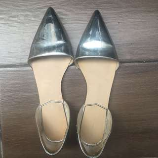Zara silver pointed flats