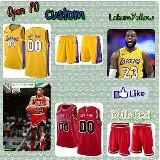 Open PO Jersey Basket Anak2/Dewasa Custom, Lakers Yellow & Bulls Red