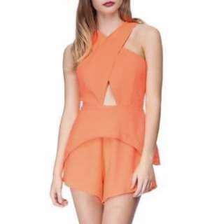 Finders Keepers Fluoro Orange Playsuit in XS 6 8
