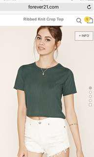 Authentic f21 green ribbed crop top
