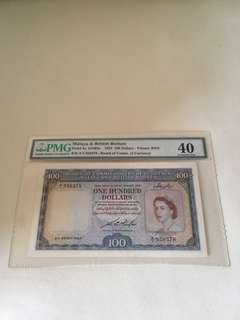 21st March 1953 Malaya and British Borneo $100 Queen e