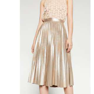 Zara Gold Pleated Skirt