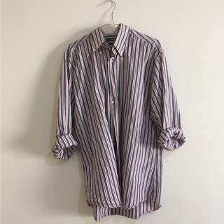 oversize striped button up shirt
