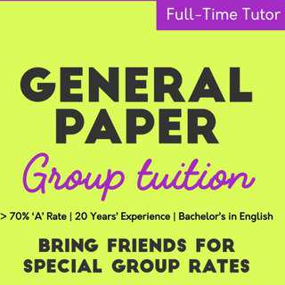 Cheap GP Tuition | Group Sessions! English Offered Too!