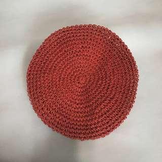 手工草編織貝雷帽 鐵銹紅色