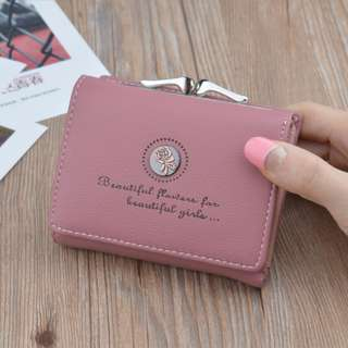 Simple ladies mini wallet retro style flowers (Red Bean)