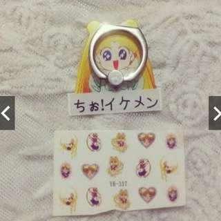 Sailor Moon phone ring + sailor moon nail art