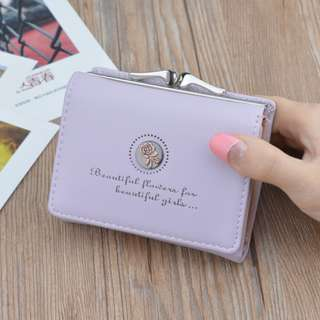 Simple ladies mini wallet retro style flowers (Purple)