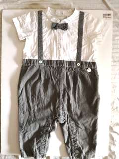 PRELOVED TRUDY & TEDDY Boy's Classic White Short Sleeves Shirt Long Grey Pants With Suspenders and Bow Tie Baby Romper - in excellent condition