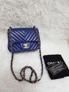 Authentic chanel cevron blue GHW seri 21