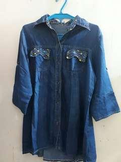 Kemeja motif jeans