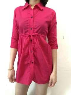 Dark pink blouse/shirt dress